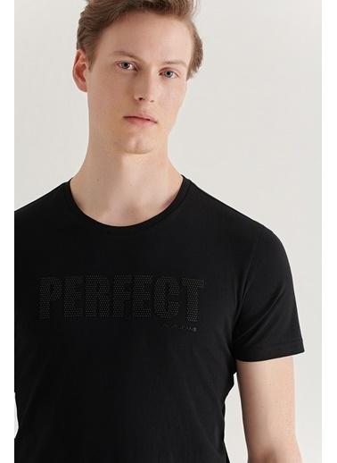 Avva Erkek Bisiklet Yaka Baskılı T-Shirt A11Y1019 Siyah